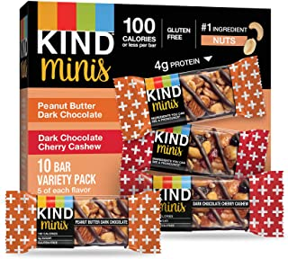 KIND Bar Minis, Peanut Butter Dark Chocolate/Cherry Cashew, Gluten Free, Low Sugar, 10 Count (Pack of 8)