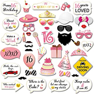 Sweet 16 Birthday Photo Booth Props Party Kit(44Counts),Konsait Funny Sweet Sixteen Photo Props with Sticks Pink Decor Great for 16th Happy Birthday Party Favors Supplies for Girls