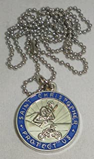 St. Christopher Medal Necklace for Motorcycle Riders/Navy
