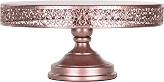 Amalfi Decor 16 Inch Cake Stand, Dessert Cupcake Pastry Candy Display Plate for Wedding Event Birthday Party, Large Round Metal Pedestal Holder, Rose Gold