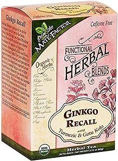 MATE FACTOR ORGANIC GINKGO RECALL WITH TURMERIC AND GOTU KOLA TEA 20 TEA BAGS