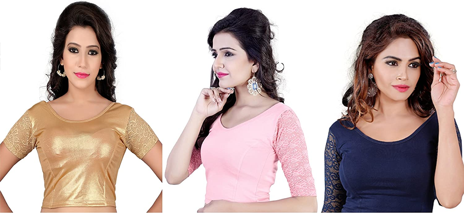 Fressia Fabrics Saree Blouse Readymade For Women Free Size(PACK OF 3) 107pack_of_3(117gold_darkbluee_babypink)