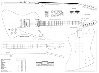 Set of 4 Gibson Electric Guitar Plans - ES-335, L5-CES, Firebird Studio,and Flying - V - Full Scale - Actual Size- Making Guitar or Framing BUY ONLY FROM SPIRIT FLUTES -