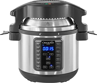 Crock-pot SCCPPA800-V1 8-Qt Express Crock Programmable Slow Pressure Cooker with Crisping Lid, 8-Quart, Stainless Steel