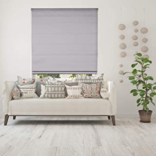 Calyx Interiors Cordless Lift Fabric Roman Shades in Size 24-Inch Width x 72-Inch Height Color Blackout Grey