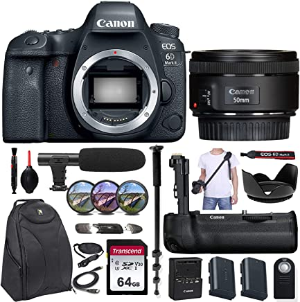 $1629 Get Canon EOS 6D Mark II DSLR Camera w/Canon EF 50mm f/1.8 STM Lens + Canon BG-E21 Battery Grip & Exclusive Accessory Bundle