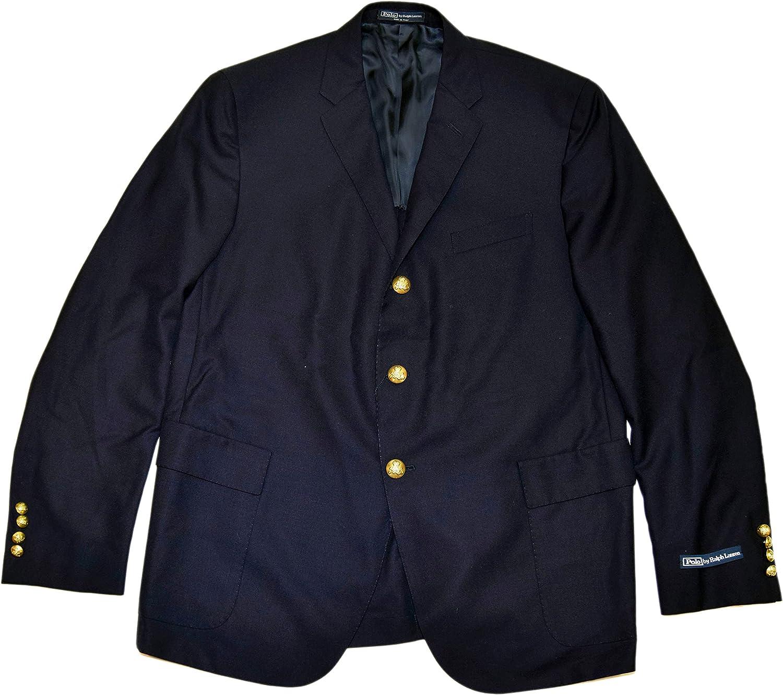 Ralph Lauren Polo Mens Blazer Sport Coat Navy Blue Virgin Wool Italy 44R $1,295