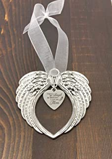 Angel Wing Heart Focal,I Have an Angel in Heaven, I Call Her Mom Charm Ornament, Memorial Remembrance Lost Loved Ones Ornament Keepsake Gift