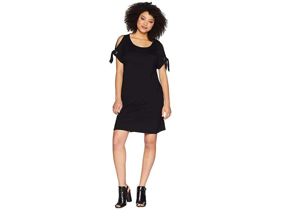 Calvin Klein Short Sleeve Dress w/ Tie Sleeve (Black) Women