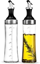 Superior Glass Oil and Vinegar Dispenser, Modern Olive Oil Dispenser, Wide Opening for Easy Refill and Cleaning, Clear Lead Free Glass Oil Bottle, BPA Free Pouring Spouts, 18 Oz. Cruet Set (Set of 2)