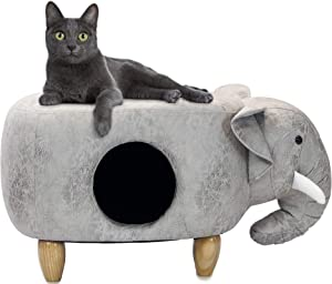 """Critter Sitters Light Gray Ottoman 16"""" Seat Height House Elephant-Soft Faux Leather Look-Perfect for Small Pets-Furniture for Nursery, Bedroom, Playroom & Living Room-Décor"""