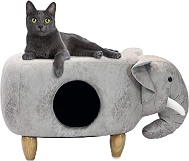"""Critter Sitters Light Gray Ottoman 16"""" Seat Height House Elephant-Soft Faux Leather Look-Perfect for Small Pets-Furniture for"""