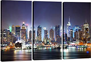 3 Panel Canvas Wall Art for Men & Women, Modern New York City Skyline Print Photograph, Hanging Decorative Painting Artwork for Kitchen, Bedroom, Office, Living Room, Home Decor Gift, 24