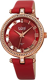 Burgi Swarovski Crystal Studded Watch - 2 Guinene Diamond Markers, See Through and Sunray Dial, Genuine Leather Women's Watch –Japanese Quartz - BUR228