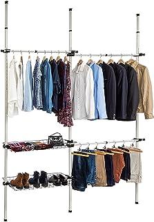 TecTake Système de garde-robe télescopique | Largeur: 150-210 | Hauteur: 160-320 | Profondeur: 38 cm