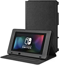 TNP Nintendo Switch Protective Case Portable Play Stand - Adjustable Desktop Flip Multi-Angled View Stand Cover Holder w/ Premium PU Leather Skin Slim Fit For Switch Console Tablet (Black)