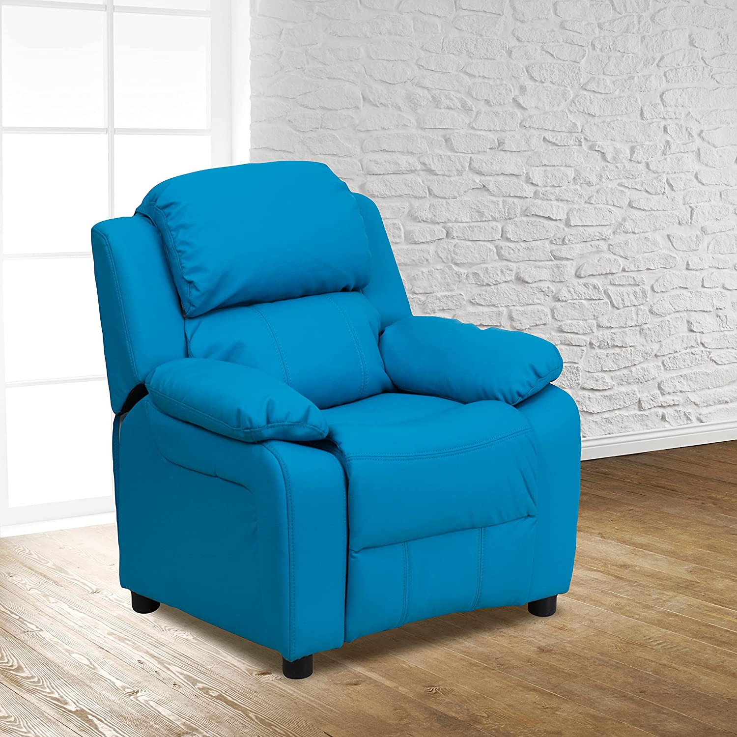 EMMA + OLIVER Deluxe Padded Turquoise Recliner Superior Cheap sale with S Vinyl Kids