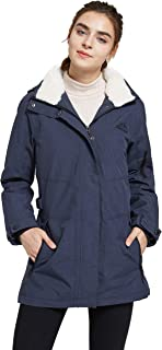 Women's Winter Fleece Lined Ski Jacket Waterproof Printed Parka with Hood