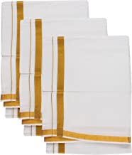 Stylesindia Pure Cotton Dhoti Vesti Mundu Golden Zari Border White Dhoti 3.6 Meter 3 Piece pack