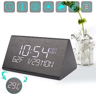 Vandora Digital Alarm Clock, Adjustable Brightness Voice Control Desk Wooden Alarm Clock, Large Display