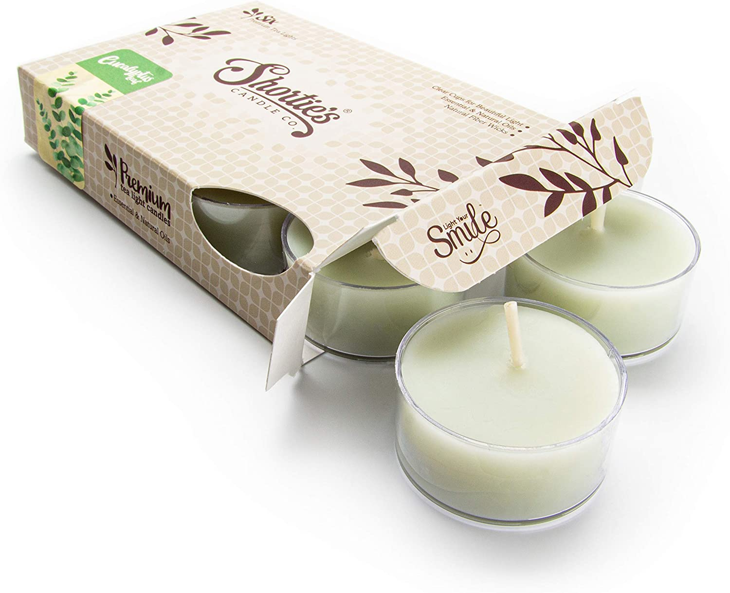 Eucalyptus Leaf Tealight Candles - Highly Scented with Essential & Natural Oils - 6 Green Hand Poured Tea Lights - Clear Container for Beautiful Candlelight - Fresh & Clean Collection