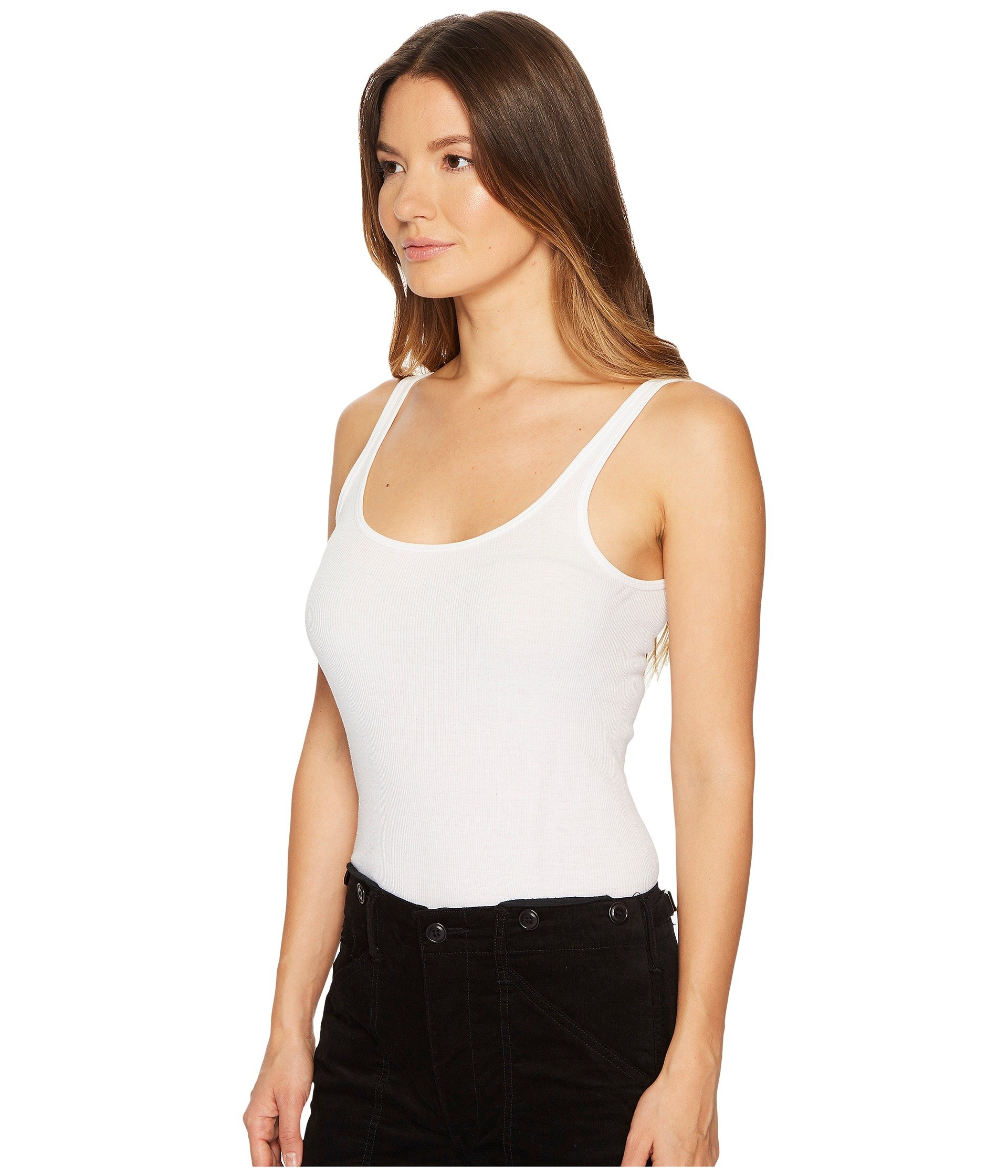 White Scoop Tank Neck Vince Top IqCwO