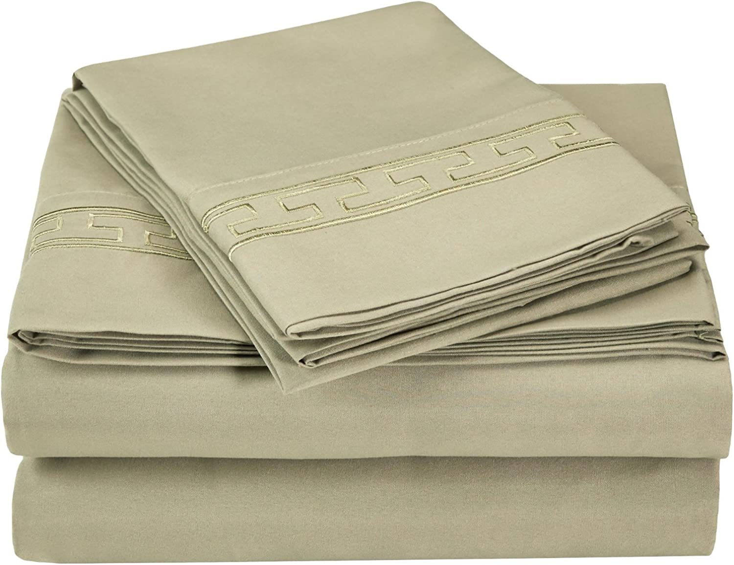 LUXOR TREASURES Super Soft Light Weight, 100% Brushed Microfiber, Queen, Wrinkle Resistant, 4-Piece Sheet Set,Tan with Regal Embroidery in Gift Box by Luxor Treasures