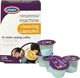 Urnex Nespresso Machine Cleaner - 5 Pods - Coffee Maker Cleaner Pods Cleans Brew Chamber Exit Spout and Nozzle