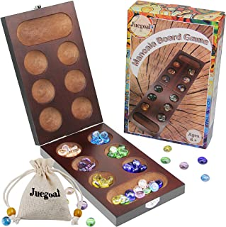 Juegoal Mancala Wood Board Game with Glass Beads for Adult Families Kids 6 Years Old and Up, Folding Travel Size
