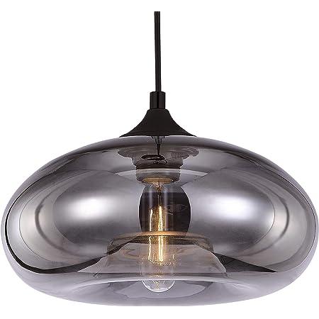 Luminaire Bronks, suspension verre mercurisé, 40 W, gris, ø 18 x H 30 cm
