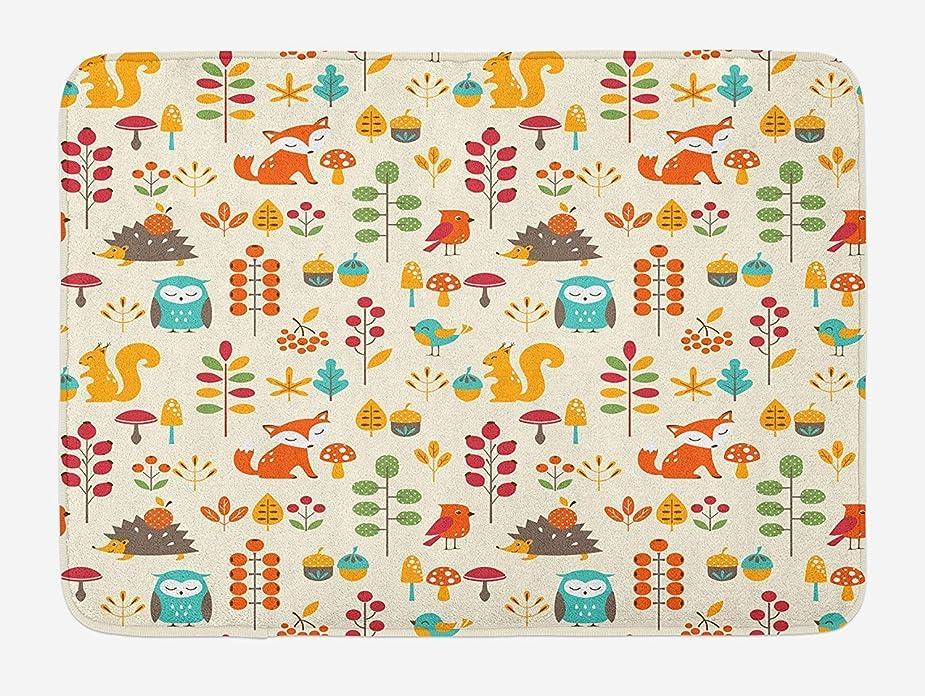 キノコ贅沢アイザック子供用バスマット、フクロウキツネリス鳥のかわいい子供たちの秋のパターン動物の葉芸術的なプリント、ノンスリップバッキング付きの豪華なバスルームの装飾マット、多色 80x50cm