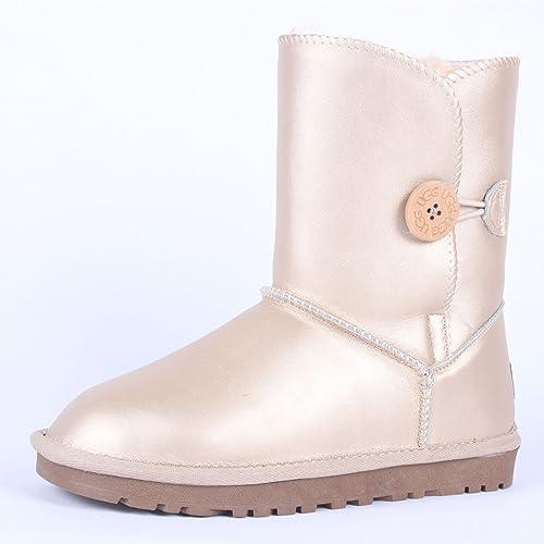 DYF Tête Ronde Chaussures Bottes Courtes de la Neige Fond Plat antidérapant Chaud,Bouton,39 Beige Métal