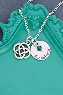 Celtic Knot Name Necklace - DII ABC - Dainty St Patricks Day - 5/8 Inch 15MM Silver Disc - Custom Birthstone Crystal - Irish Jewelry March