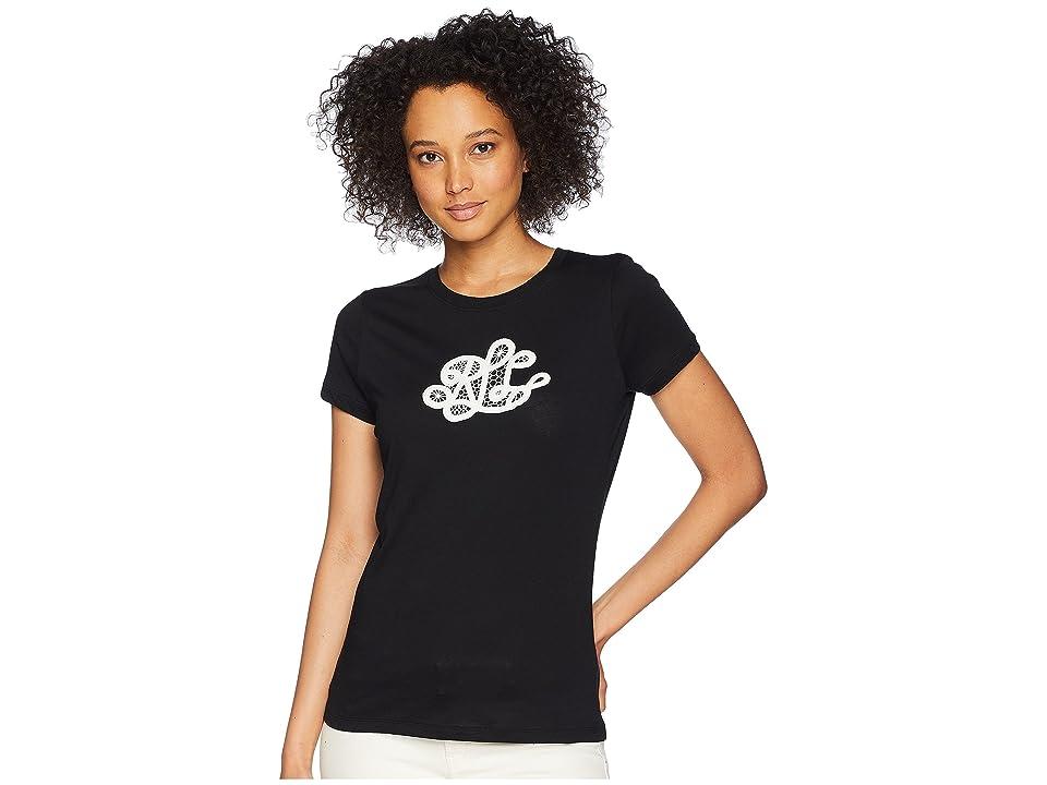 LAUREN Ralph Lauren Embroidered Monogram T-Shirt (Polo Black) Women