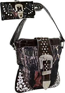 Western Rhinestone Cross Body Messenger Bag Matching Wallet