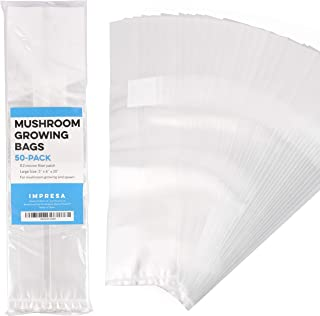 "Impresa Products 50-Pack Mushroom Growing Bags Mushroom Spawn Bags, Extra Thick 6 Mil Bags, Large Size 6"" X 5"" X 20"" 0.2 M..."