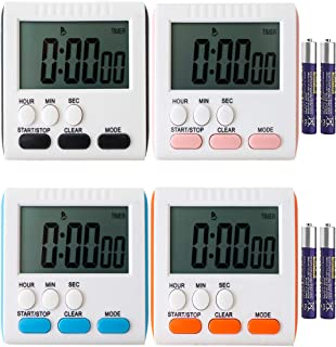 Ruyixws Digital Kitchen Timer with Large LCD Display, Loud Alarm, Magnetic Back with Stand, Works as Clock Timer, Used for Kids Teachers Cooking Sports Beauty, Battery Included (4 Colors, 4P)