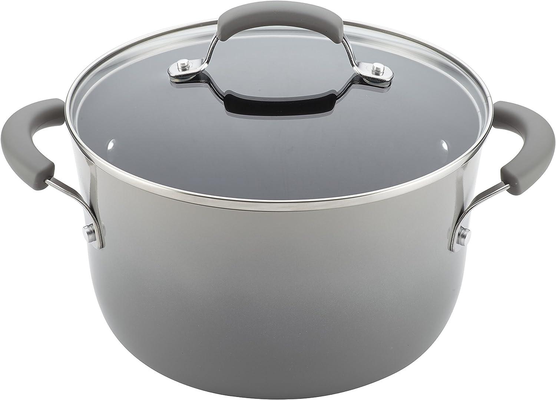 Rachael Ray Brights Nonstick Cookware Pots and Pans Set, 14 Piece, Sea Salt Gray Sea Salt Gray