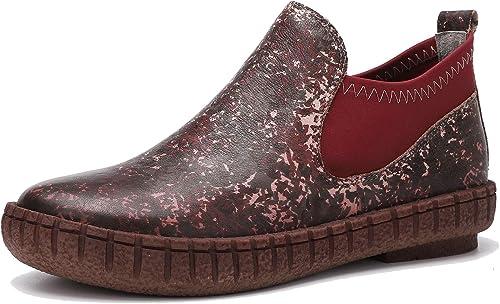 Go to Past Damen Stiefeletten aus echtem Leder im Herbst und Winter Vintage Loafer Flache Stiefelies Komfortable Freizeitschuhe aus Rindsleder