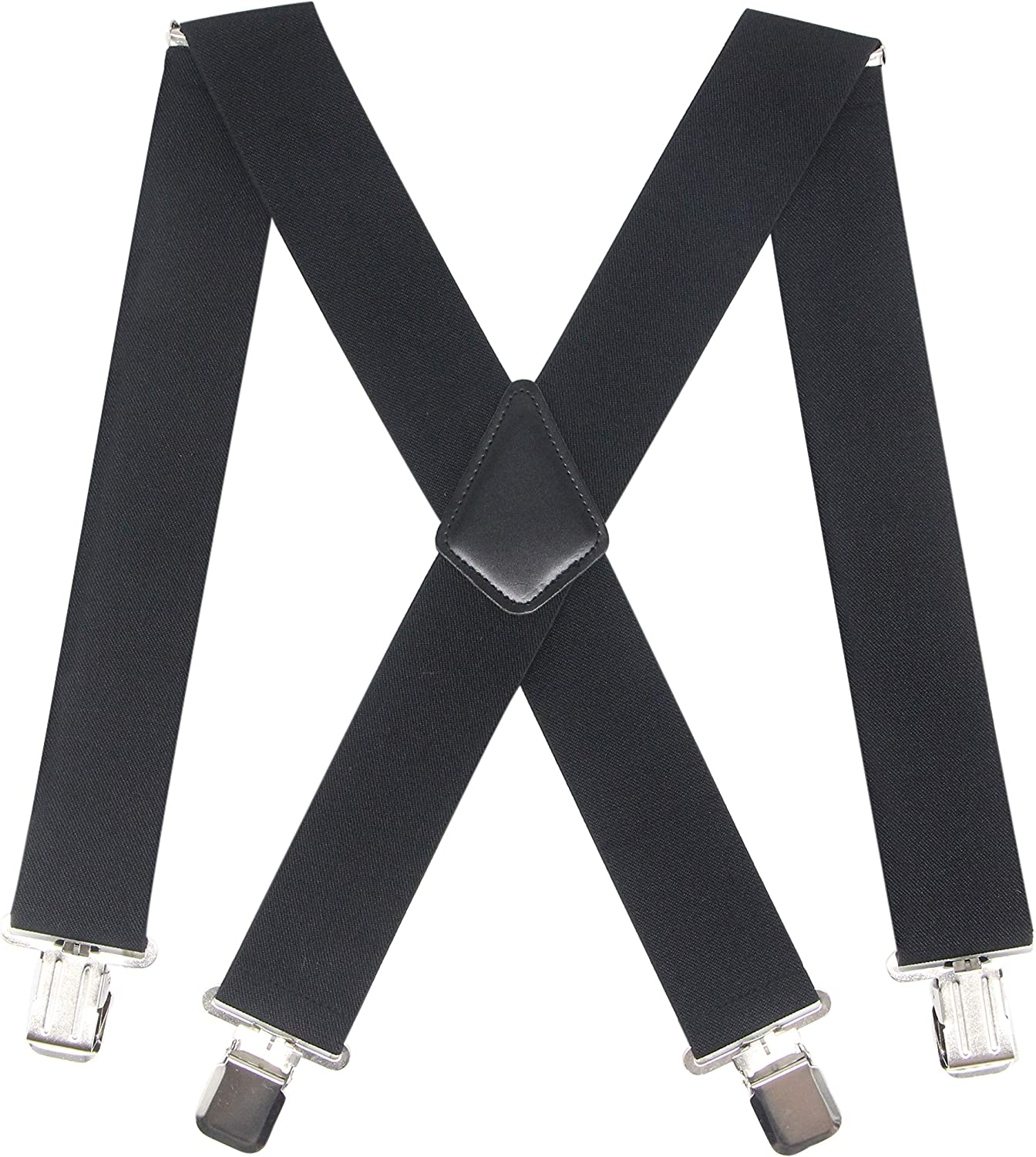Mens 2 Inch Wide Suspenders Heavy Duty Strong Clips Adjustable Elastic Braces Big and Tall X-Back