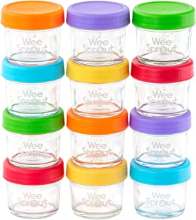 Best WeeSprout Glass Baby Food Storage Containers | 12 Set | 4 oz Baby Food Jars with Lids | Freezer Storage | Reusable Small Glass Baby Food Containers | Microwave/Dishwasher Friendly | for Infants/Babies Review
