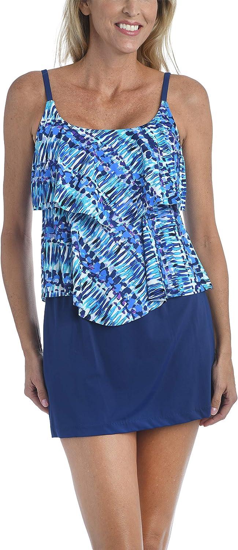 Maxine Of Hollywood Women's Standard 2-Tiered Ruffle Tankini Swimsuit Top
