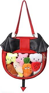 Clear Candy Leather Handbag Kawaii Purse Transparent Backpacks For Girls Devil Bat Wings Crossbody Bags Lolita
