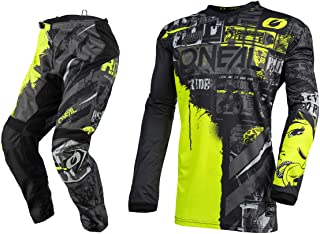 Oneal Element Ride Black/Neon Motocross Dirt bike Offroad MX Jersey Pants Combo Package Riding Gear Set (Jersey Adult Medium/Pants W32)