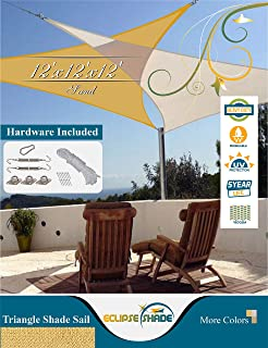 Eclipse Shade 12'x12'x12' Heavy Duty Triangle Shade Sail, Sand Color Hardware Included Canopy Awning UV Resistant Porch Cover