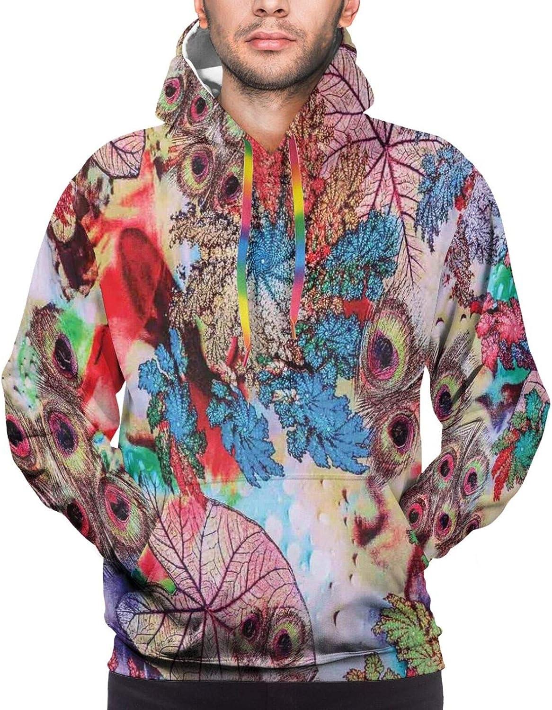 Men's Hoodies Sweatshirts,Colorful Dandelions Stems Buds Leaves Bedding Plants Wildlife Meadow Cottage Theme