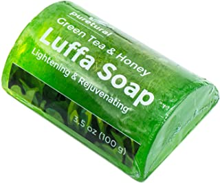Luffa Soap Body Scrub Soap to clean dark spots stubborn dirt from body for skin Lightening with Green Tea and Honey Original by Puretural