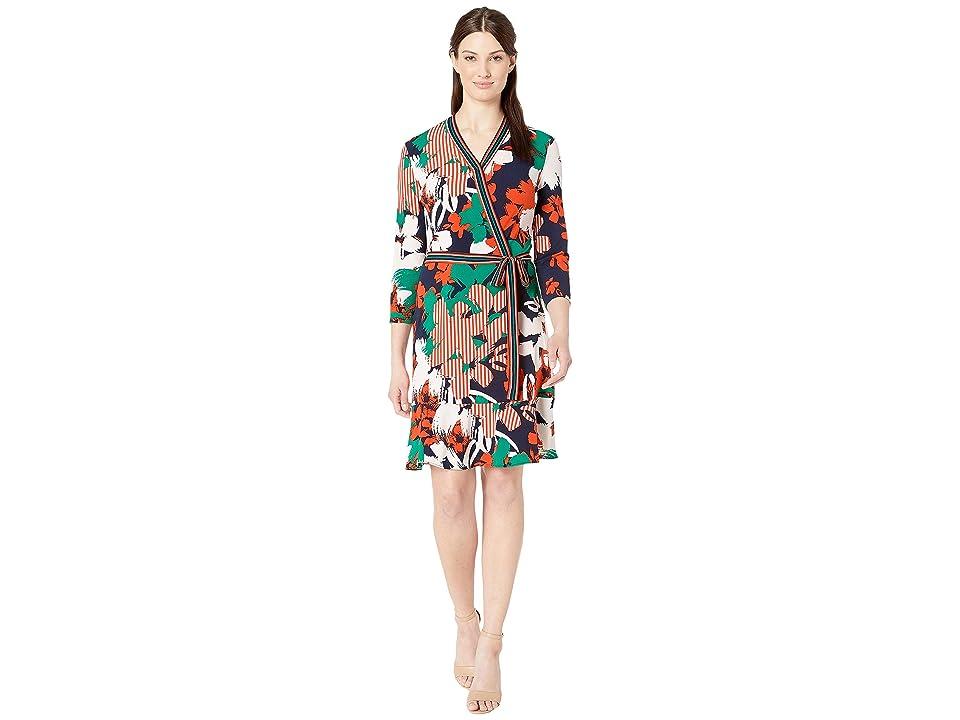 eci 3/4 Sleeve Stripe Floral Faux Wrap Jersey Dress (Navy/Orange) Women