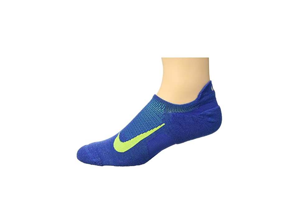 Nike Elite Merino Cushioned No Show Running Socks (Game Royal/Volt) No Show Socks Shoes