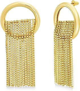 Steve Madden Yellow Box Chain Hoop Dangle Earrings for Women